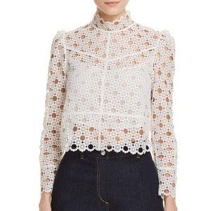 Sandro white lace Coralisse Eyelet-lace Top